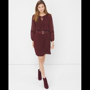 WHBM sheer sleeve boho chiffon dress burgundy wine